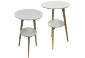 ORION - 2 PACK - Retro Solid Wood Tripod Leg Round Table with Shelf - Natural / White