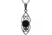 WHITBY JET - Sterling Silver Large Celtic Oval Pendant / 18inch Chain