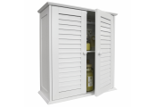 LOUVRE - Double Shutter Door Bathroom Wall Storage Cabinet - White