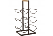6 Bottle Metal and Wood Wine Bottle Rack - Black / Brown