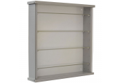 Solid Wood Wall Display Cabinet with 4 Adjustable Glass Shelves - Grey