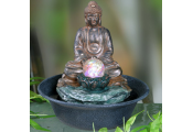 Buddha Tabletop Indoor Fountain / Water Feature with Bubble Globe and LED lights