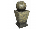Outdoor Garden Fountain / Water Feature - Sphere on Plinth with LED Lights