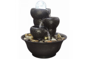 Tabletop Indoor Fountain / Water Feature - 3 Tier Cascade with LED Lights