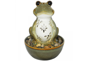 Frog Tabletop Indoor Fountain / Water Feature with LED Light and Pebbles