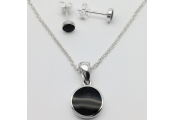 WHITBY JET - Round Necklace + Earring Set - Sterling Silver / Black