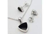 WHITBY JET - Triangle Necklace + Stud Earring Set - Sterling Silver / Black