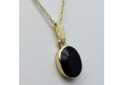 WHITBY JET - Jet and 9 Carat Gold 1.9cm Oval Pendant / 18inch Chain