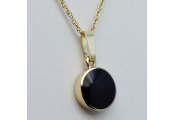 WHITBY JET - Jet and 9 Carat Gold 1.8cm Round Pendant / 18inch Chain