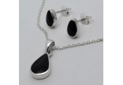 WHITBY JET - Teardrop Necklace + Stud Earring Set - Sterling Silver / Black