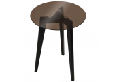 LUNA - Retro Solid Wood Tripod Leg and Round Glass End / Side Table - Black / Tinted