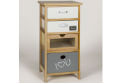 Wooden 4 Drawer Cabinet with I LOVE U Message - Brown / Grey / White