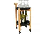 Wood Drinks / Tea Trolley Table with 2 Removable Trays - Black / Natural