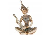 Zen Buddha Strumming Lute Ornament Figurine - Rose Gold / Blue