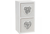 2 Drawer Mini Storage Chest with Hearts - White / Grey