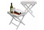 FOLD - PACK OF TWO -Wooden Folding Tray Top Side / End Table / Bedside / Laptop Snack Tray - White