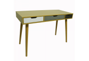 INDUSTRIAL - 2 Drawer Office Computer Desk / Dressing Table - Beech / Multicoloured