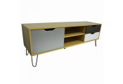 Large TV / Entertainment Unit With Three Storage Drawers - Beech / Muticoloured
