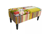PATCHWORK- Storage Ottoman Stool / Blanket Box / Padded Trunk - Multicoloured