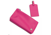 MORGAN - Leather Travel Document Pouch and Luggage Tag Set - Pink