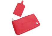 MORGAN - Leather Travel  Money Document Pouch and Luggage / Suitcase Tag Set - Red