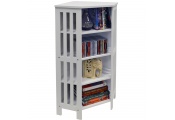 MISSION - Corner 132 CD / 96 DVD Blu-ray Media 4 Tier Storage Shelf Unit - White