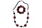 CANDY - Stripy Bead Necklace and Bracelet Set - Red / Black