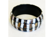 PEARL - Large 3.5cm Wide Mother of Pearl Inlaid Bracelet / Bangle