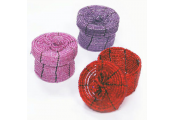 BEAD - Set of 3 Mini Beaded 4.5cm Gift / Storage Boxes - Pink / Purple / Red