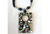 PEEP - Rectangle Pendant Peephole Necklace - Green/Blue
