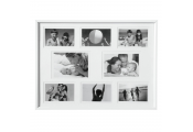 COLLAGE - Wall Mounted Photo Frame - with Eight Apertures - White