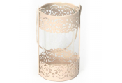 GRACE - Metal and Glass Hanging Decorative Filigree Single Candle Lantern - Cream