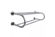 HOTEL - Chrome Bathroom Wall Shelf with Towel Rail