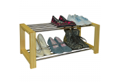 SLEEK - Solid Pine 6 Pair Shoe Storage Organiser Rack - Natural