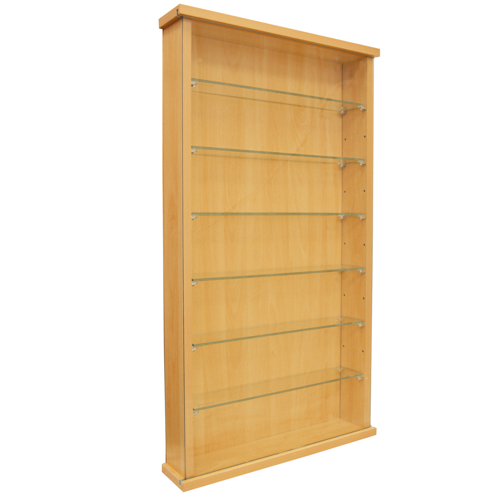 Glass Shelves Kitchen Cabinets: Wall Display Cabinet With Six Glass Shelves