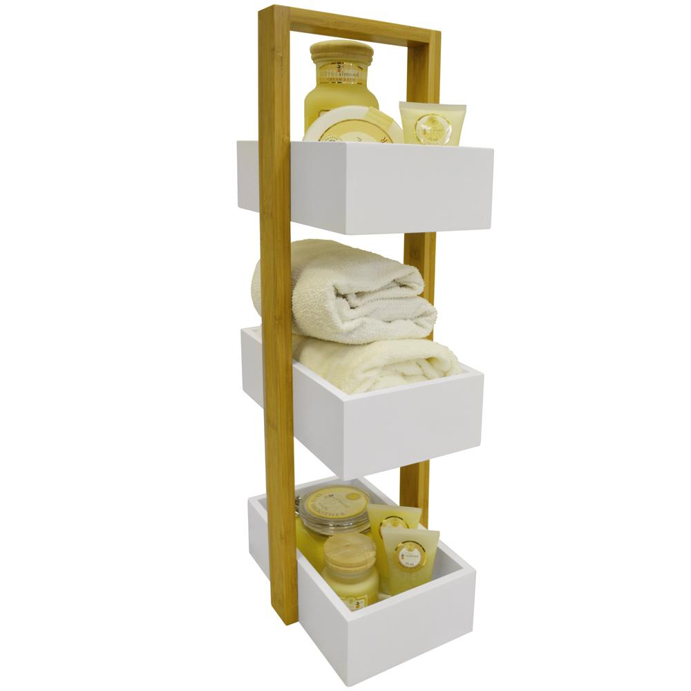 ECHE - 3 Tier Bathroom Storage Shelf / Caddy / Basket - White / Bamboo ...