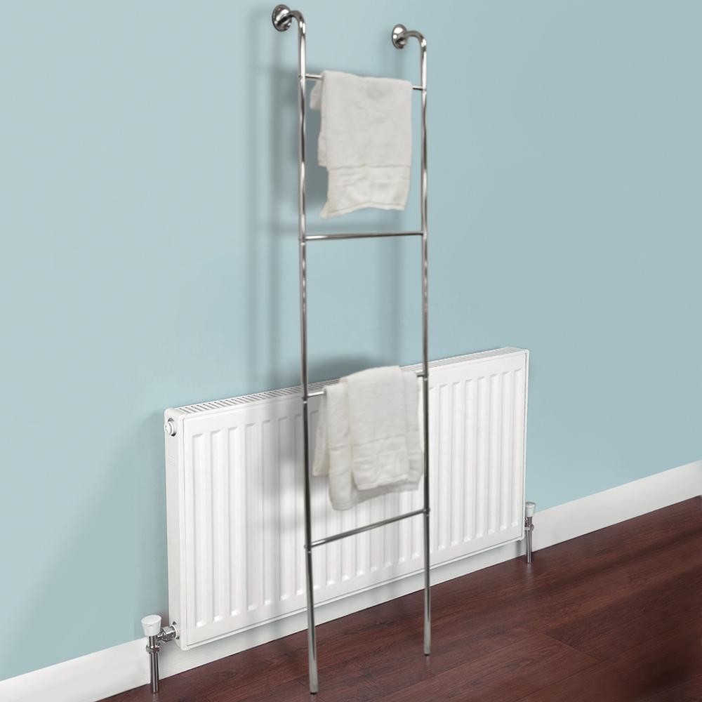 Ladder chrome wall mounted 4 rung towel rail silver