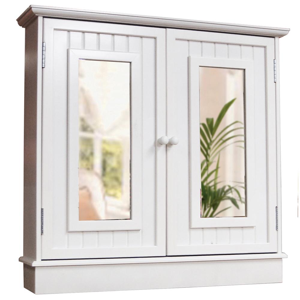 tallula double mirror door bathroom wall storage cabinet white