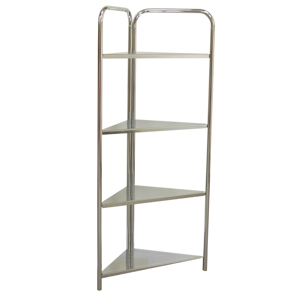 ATHENA   4 Tier Bathroom Metal Corner Storage Shelves   Silver. Watch more like Metal Corner Shelves
