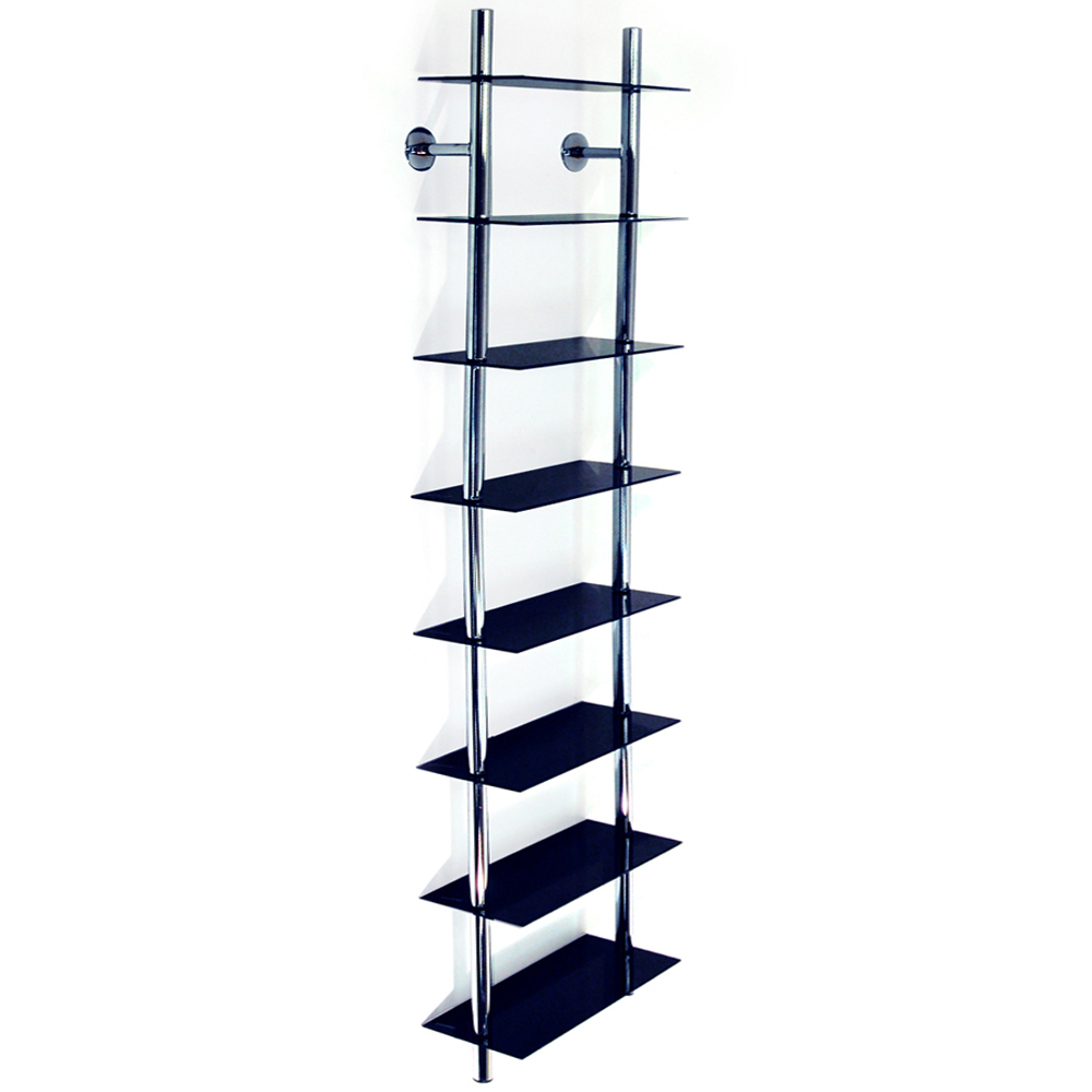 maxwell wall mounted 8 tier glass 240 cd 160 dvd blu ray storage shelf black watson 39 s. Black Bedroom Furniture Sets. Home Design Ideas