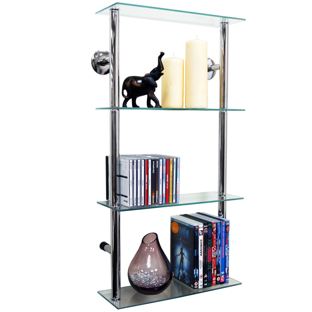 Maxwell Wall Mounted 4 Tier Glass 90 Cd 60 Dvd Storage