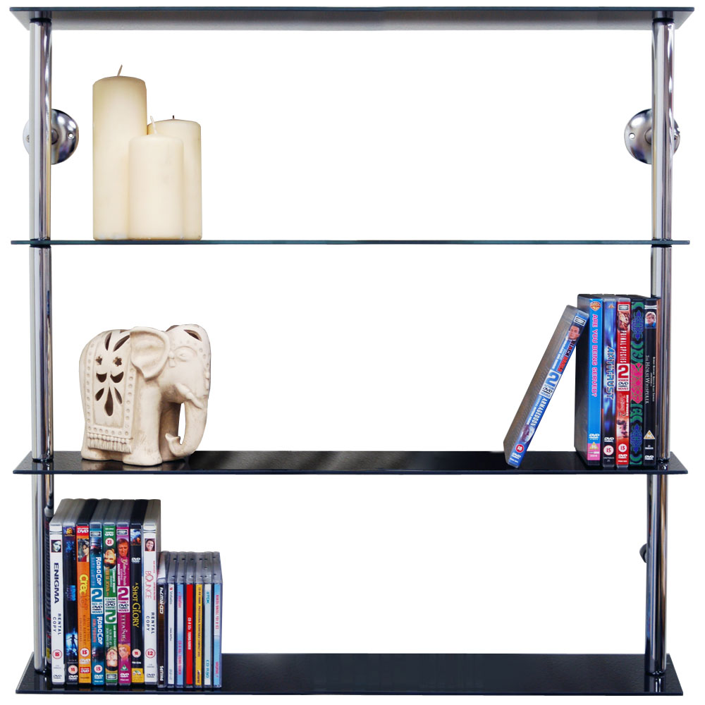 Maxwell Wall Mounted Wide Glass 195 Cd 140 Dvd Storage
