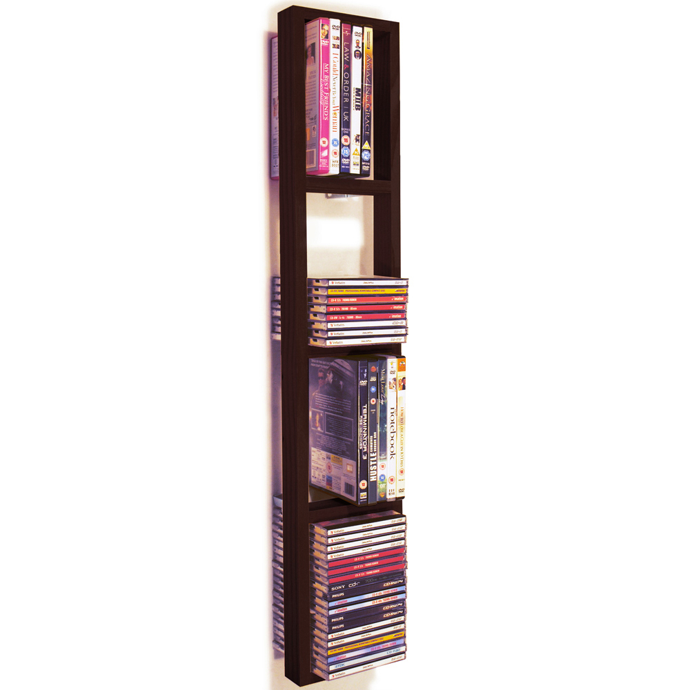 iris wall mounted 76 cd 32 dvd blu ray storage shelf. Black Bedroom Furniture Sets. Home Design Ideas