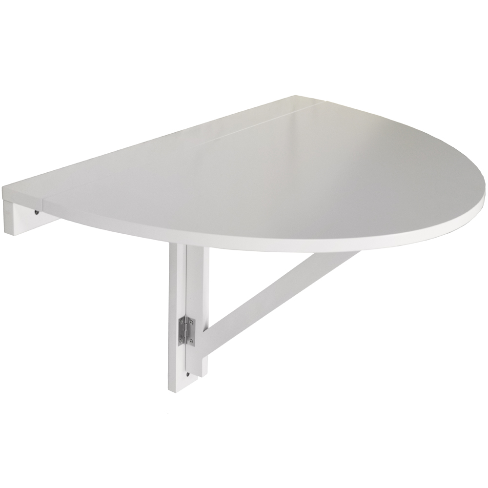 Hideaway folding fold down drop leaf wall mounted semi circular table white watson 39 s on - Wall mounted drop leaf table white ...