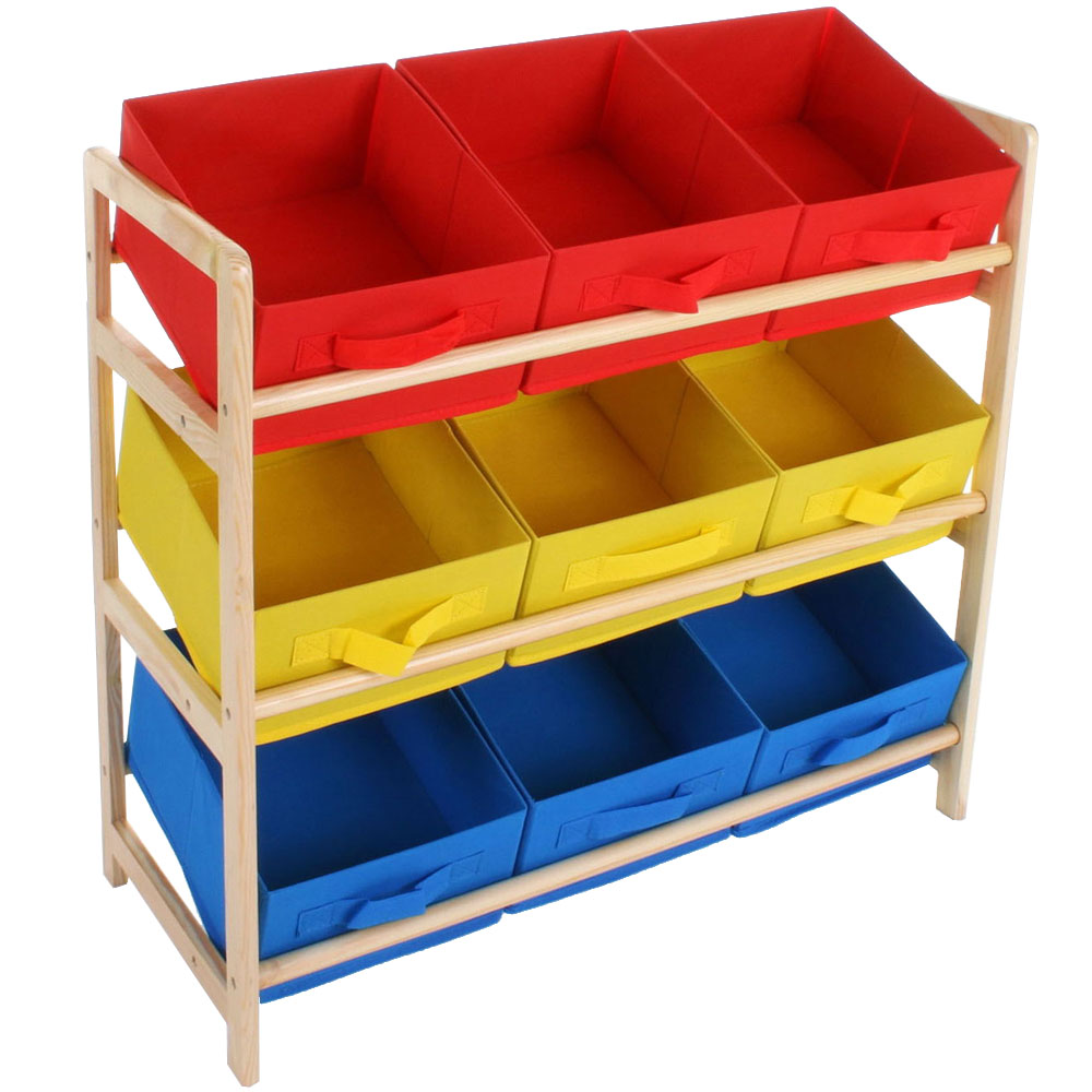 9 Cube Kids Red Yellow Blue Toy Games Storage Unit Girls: Childrens Wood Multicoloured 3 Tier Storage 9 Box