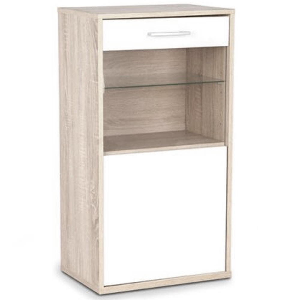Contemporary wall floor storage cabinet with glass for Floor storage cabinet