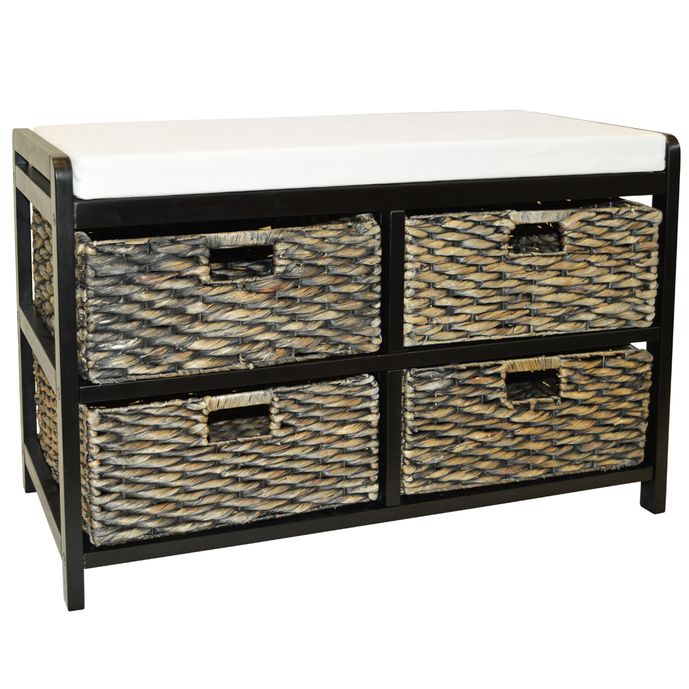 Canterbury double storage shoe storage bench with baskets brown black watson 39 s on the Bench with baskets