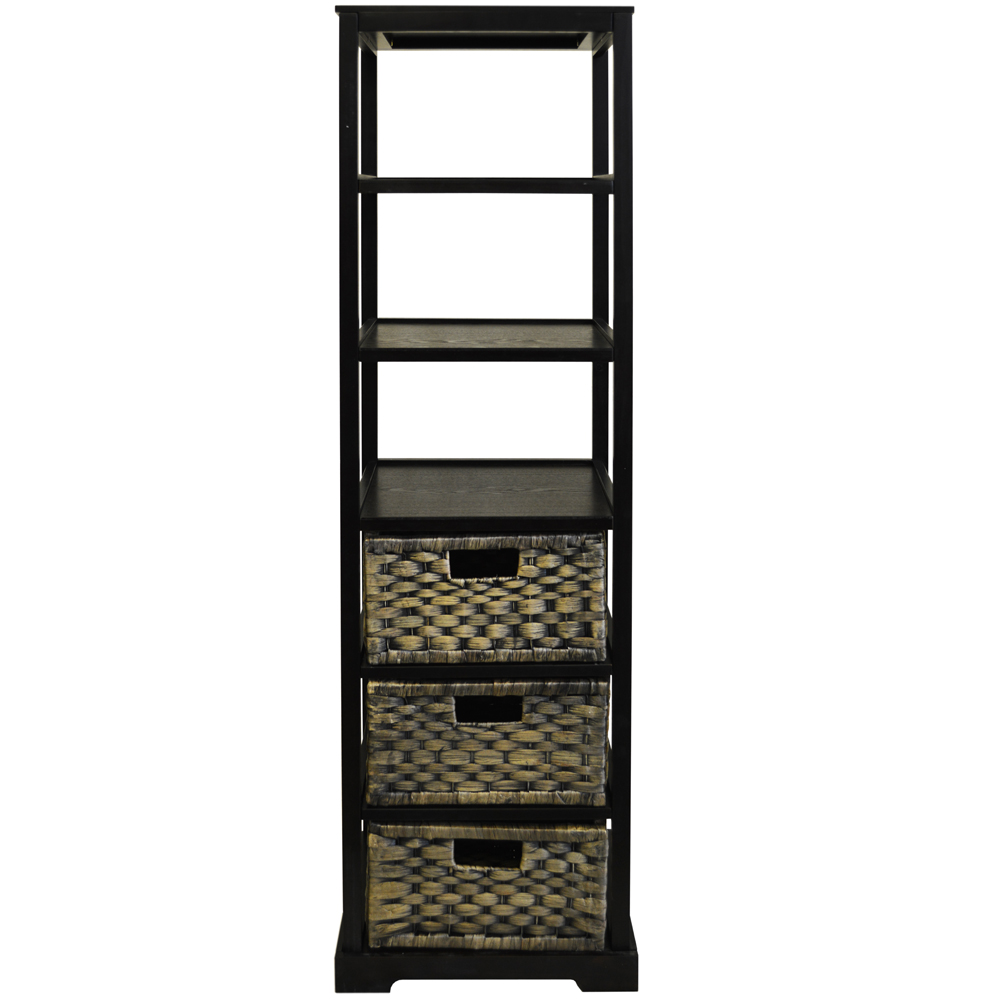 Miami Tall 6 Cubby 3 Drawer Storage Tower Shelves