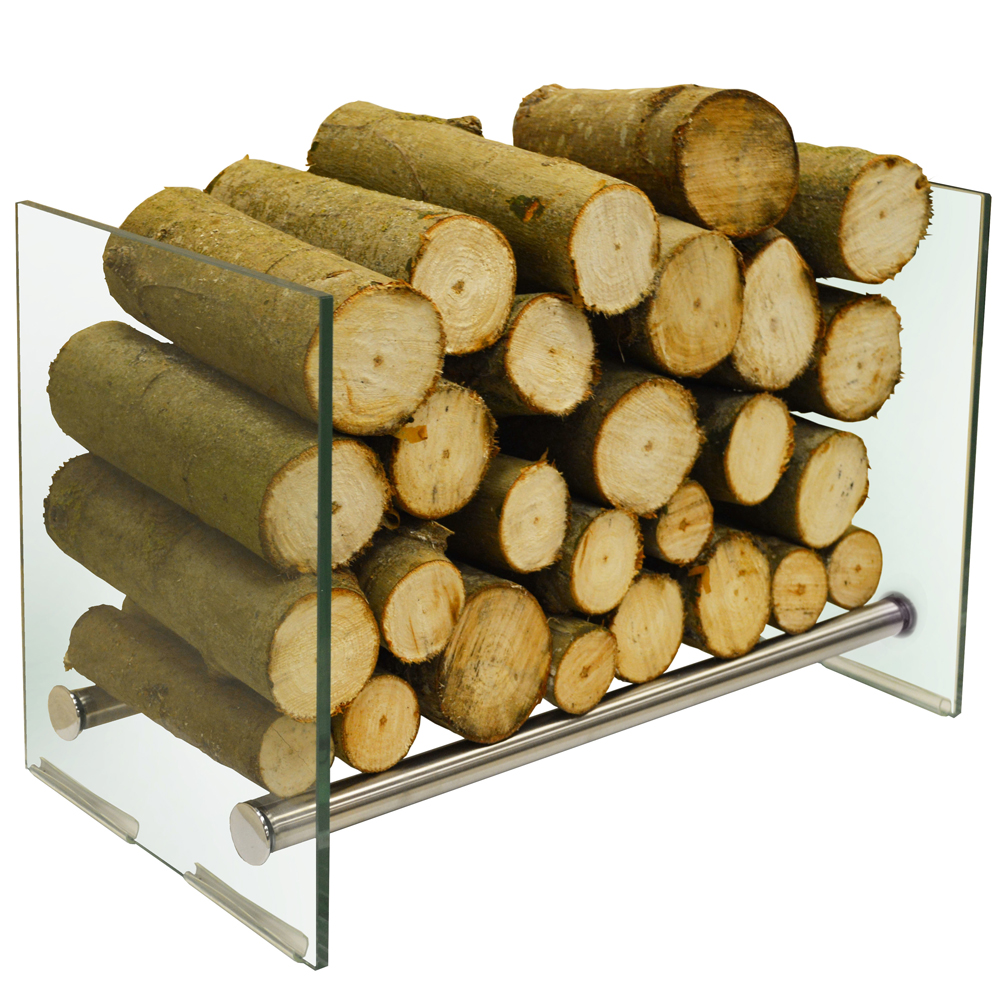 Okaton 58cm Contemporary Tempered Glass And Steel Log