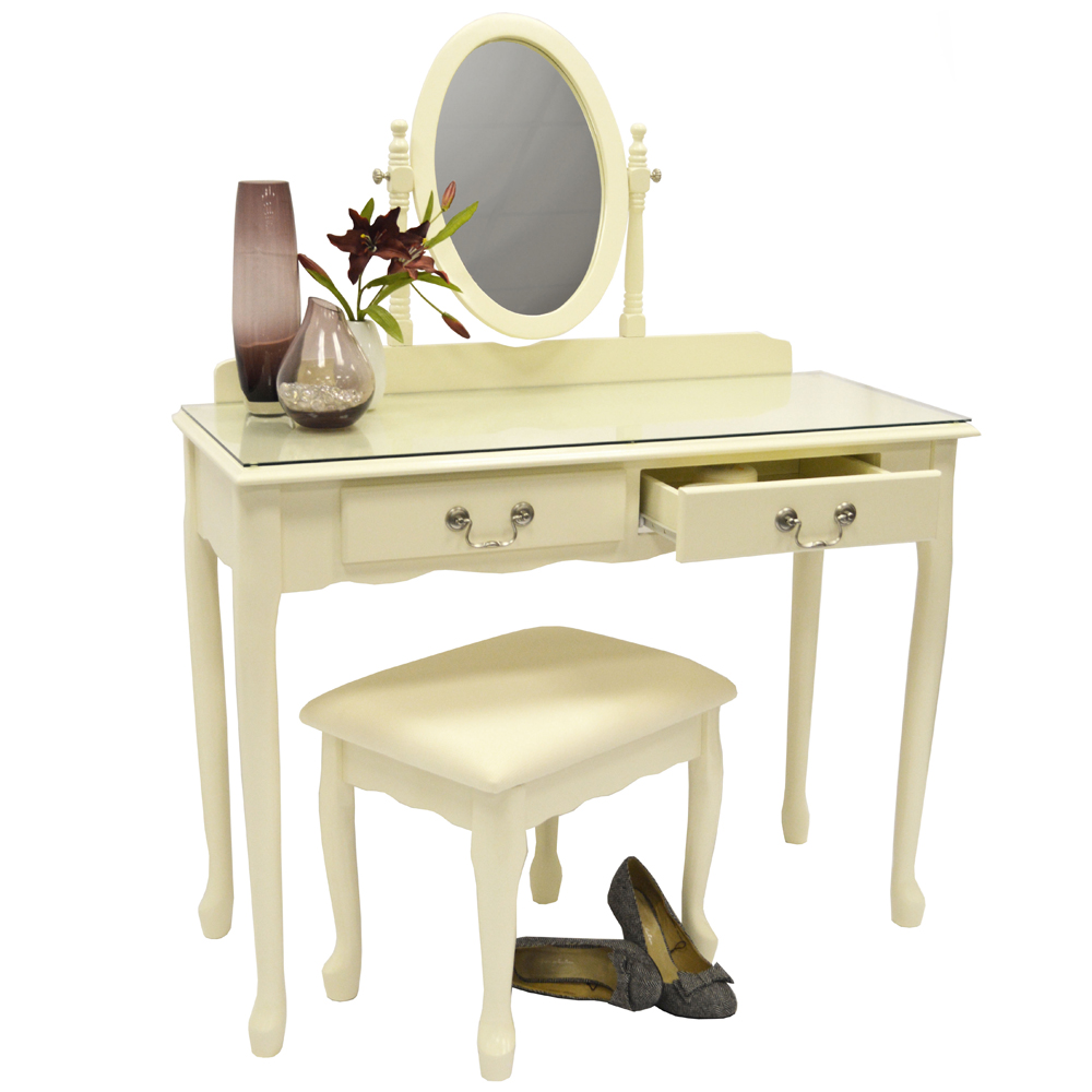 Loire solid wood dressing table with mirror and stool cream watson 39 s on the web - Stool for vanity table ...